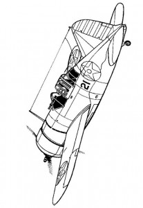 coloring page Brewster F2A-3 Buffalo 1942