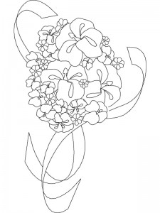 coloring page bridal bouquet