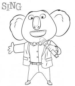 kleurplaat Buster Sing