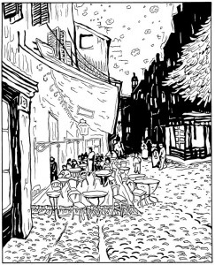 pagina da colorare Café terrazza di notte 1888