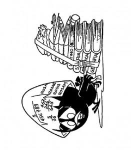 pagina da colorare Calimero con molti libri
