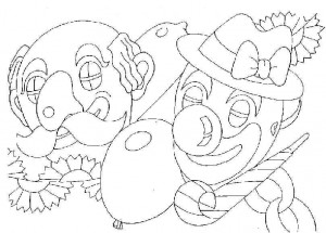 coloring page carnival clowns