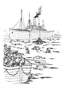 kleurplaat Carpathia, het reddings schip