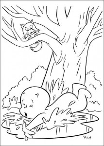 coloring page Casper falls into the puddle