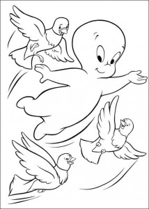 coloring page Casper flies with pigeons
