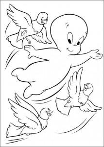 målarbok Casper flyger med duvor