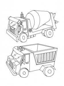 kleurplaat Cement en zandwagen