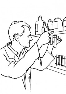 coloring page Chemist