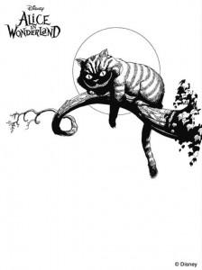 målarbok cheshire katt 2