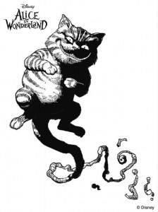målarbok cheshire katt