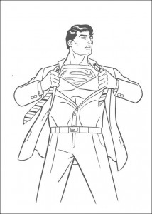 Dibujo para colorear Clark se convierte en Superman