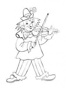 målarbok Clown spelar fiolen