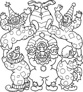 kleurplaat Clowns