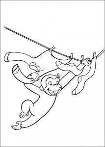 kleurplaat Curious George aan de waslijn
