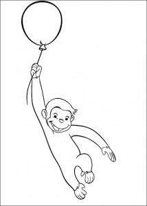 kleurplaat Curious George aan een ballon