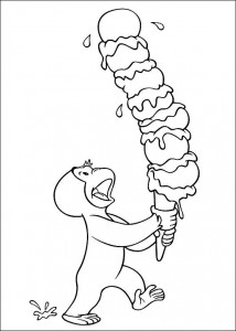 coloring page Curious George has an ice cream