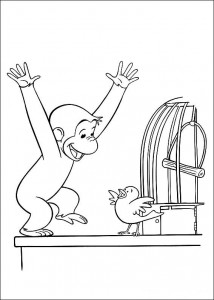 kleurplaat Curious George laat vogel vrij