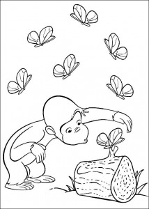 kleurplaat Curious George ziet vlinders