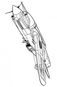 kleurplaat curtiss tomahawk 1941