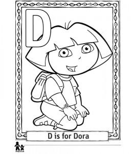 Dibujo para colorear D Dora
