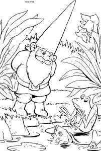 David coloring page with the frogs