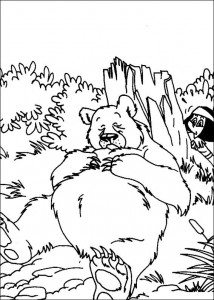 coloring page The bear is sleeping