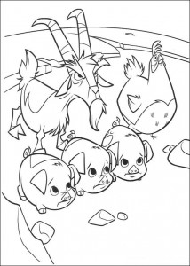 coloring page The piglets and the goat