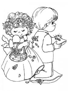 kleurplaat De bruidsjonker en het bruidsmeisje