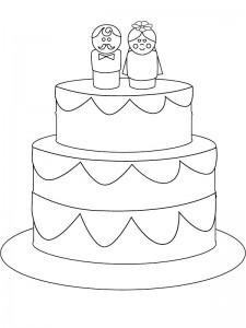 kleurplaat De bruidstaart