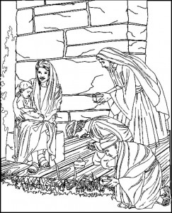 coloring page The three wise men kneel down with Jesus