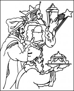 coloring page The three wise men with their gifts
