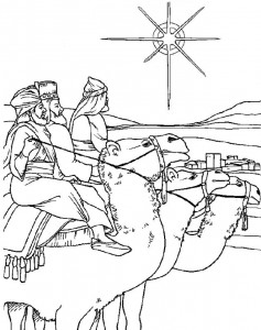 coloring page The three point to their camels