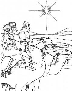 målarbok De tre pekar på sina kameler