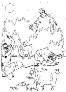 coloring page The angel speaks to the shepherds