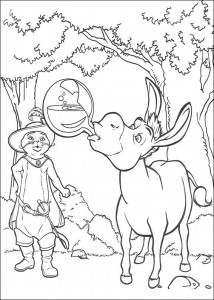 coloring page The donkey drink magic potion