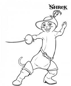 раскраска Кот в сапогах (4)