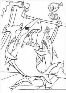 kleurplaat De haaien houden Bruce tegen