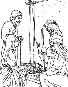 coloring page The shepherds in the stable (1)