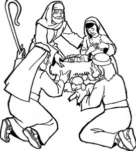 coloring page The shepherds in the stable (2)