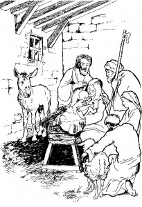 coloring page The shepherds in the stable