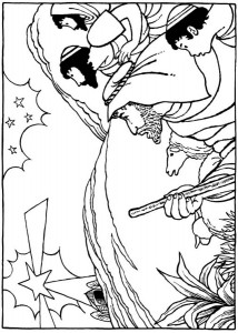 coloring page The shepherds see the star of Bethlehem