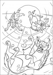 coloring page The hyenas fall into the corridors