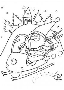 kleurplaat De kerstman op een sneeuwscooter