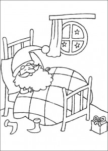 coloring page Santa is sleeping
