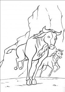 coloring page The herd of bison running wild