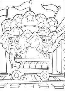 coloring page The elephants of the circus