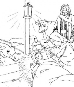 coloring page The ox and the donkey are watching