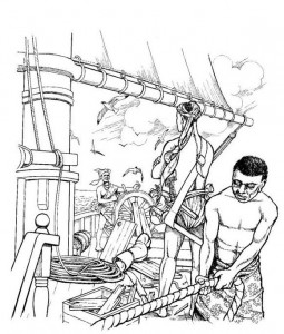 coloring page The slaves have the ship