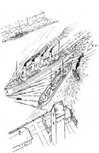 kleurplaat De titanic vertrekt voor haar eerste reis
