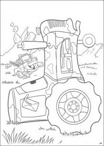 coloring page The tractors fall over